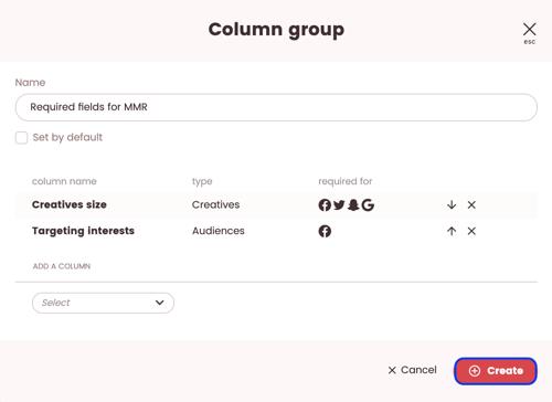 media plan columns